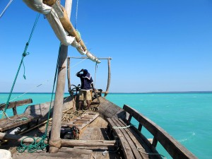 Mozambique dhow at sea