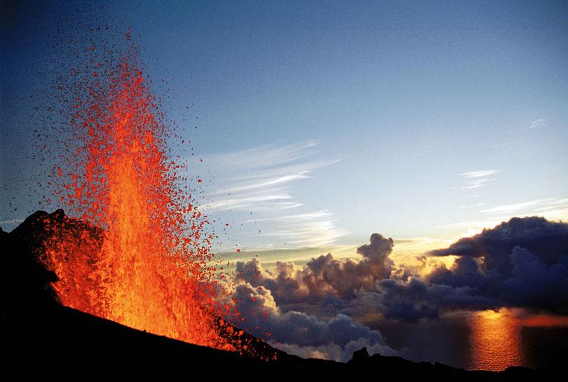 Piton de la Fournaise volcano in Reunion.