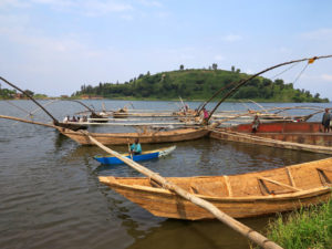 Traditional fishing boats on Lake Kivu